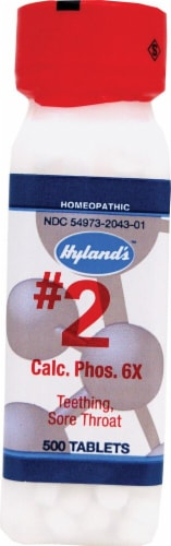Hyland's Homeopathic #2 Calcarea Phosphorica Tablets for Teething and Sore Throat Perspective: front