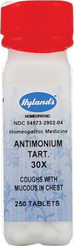 Hyland's Antimonium Tartaricm 30x Cough with Mucous Chest Tablets Perspective: front