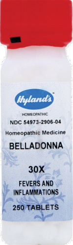 Hyland's Homeopathic Belladonna 30x Fevers & Inflammations Tablets Perspective: front