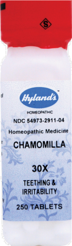 Hyland's Homeopathic Chamomilla 30x Teething & Irritability Tablets Perspective: front
