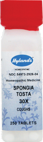 Hyland's Homeopathic Spongia Tosta 30x Coughs Tablets Perspective: front
