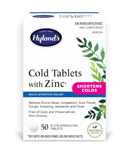 Hyland's Homeopathic Cold Tablets with Zinc Perspective: front
