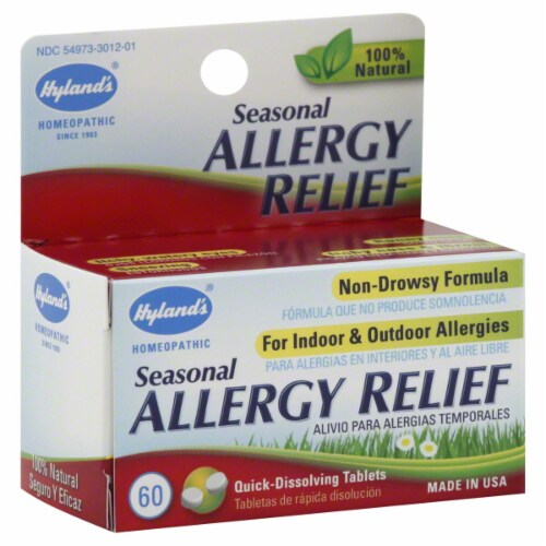 Hyland's Homeopathic Seasonal Allergy Relief Tablets Perspective: front