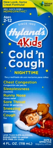 Hyland's 4 Kids Cold 'n Cough Nighttime Symptom Relief Liquid Perspective: front