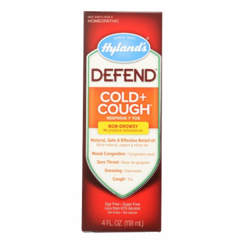 Hylands Homeopathic Hyland's Defend - Cold and Cough - 4 Fl oz. - Pack of 3 Perspective: front