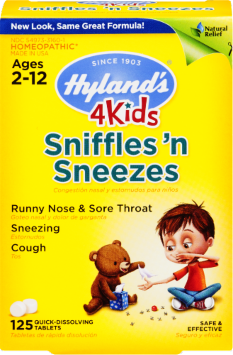 Hyland's 4 Kids Sniffles 'n Sneezes Tablets Perspective: front
