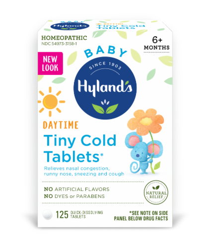 Hyland's Baby Daytime Tiny Cold Tablets Perspective: front