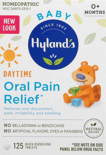 Hyland's Baby Oral Pain Relief Tablets 65mg Perspective: front