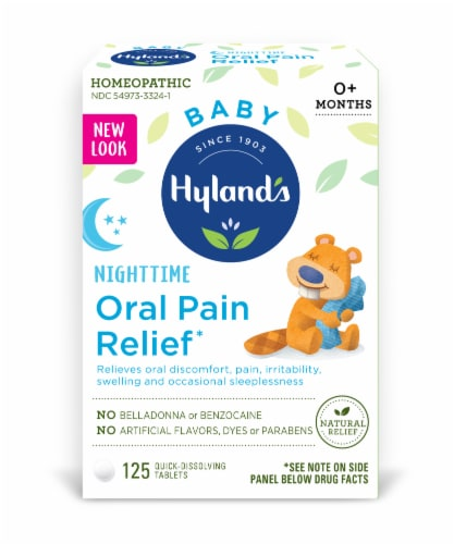 Hyland's Baby Nighttime Oral Pain Relief Tablets Perspective: front