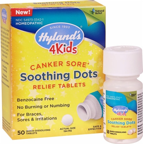 Hyland's 4Kids Canker Sore Soothing Dots Relief Tablets 194mg Perspective: front