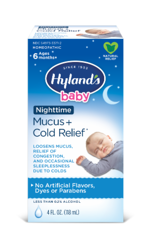 Hyland's Baby Homeopathic Nighttime Mucus + Cold Relief Liquid Perspective: front