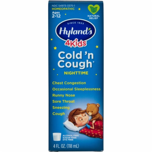 Hyland's 4 Kids Homeopathic Cold 'n Cough Nighttime Relief Syrup Perspective: front