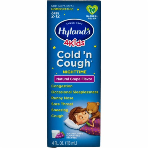 Hyland's 4 Kids Cold n' Cough Natural Grape Flavor Nighttime Natural Relief Perspective: front