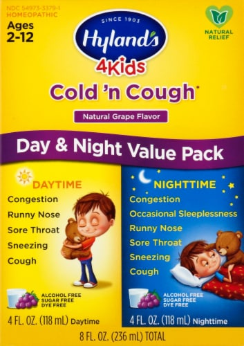 Hyland's 4 Kids Cold 'n Cough Day & Night Grape Flavor Homeopathic Liquid Value Pack Perspective: front