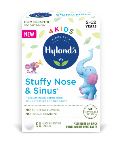 Hyland's 4 Kids Stuffy Nose & Sinus Tablets Perspective: front