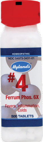 Hyland's Homeopathic #4 Ferrum Phosphoricum 6X Tablets Perspective: front