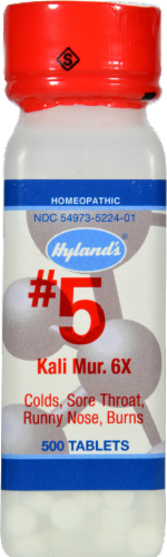 Hyland's Homeopathic #5 Kali Muriaticum 6X Tablets Perspective: front