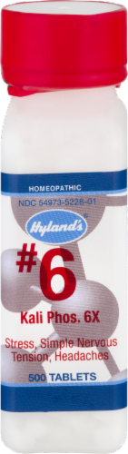 Hyland's Homeopathic #6 Kali Phosphoricum 6x Stress Simple Nervous Tension & Headache Relief Perspective: front