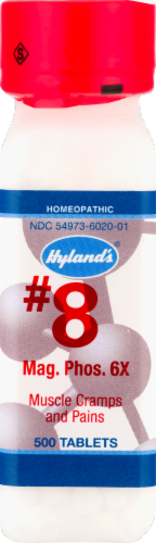 Hyland's Homeopathic #8 Magnesia Phosphorica 6x Muscle Cramps & Pains Tablets Perspective: front