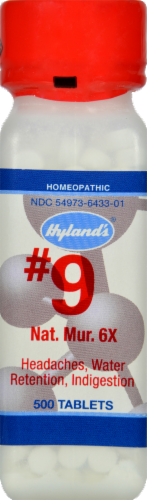 Hyland's Homeopathic #9 Natrum Muriaticum 6X Tablets Perspective: front