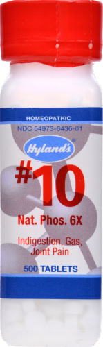 Hyland's Homeopathic #10 Natrum Phosphoricum 6x Indigestion Gas & Joint Pain Tablets Perspective: front