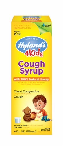 Hyland's Homeopathic 4 Kids Cough Syrup with Honey Perspective: front