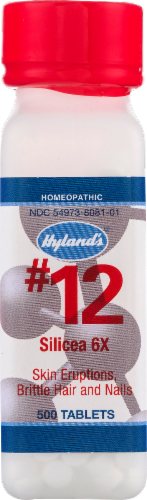 Hyland's Homeopathic #12 Silicea 6x Skin Eruptions Brittle Hair & Nails Perspective: front