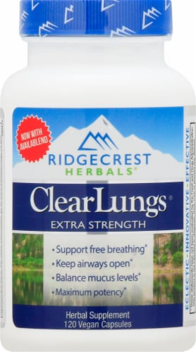 Ridgecrest Herbals ClearLungs Extra Strength Vegan Capsules Perspective: front