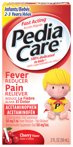 PediaCare Cherry Flavor Fever Reducer Pain Reliever Perspective: front