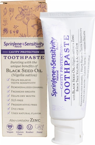 Sprinjene Natural  Sensitivity Relief Cavity Protection Toothpaste with Black Seed Oil & Zinc Perspective: front