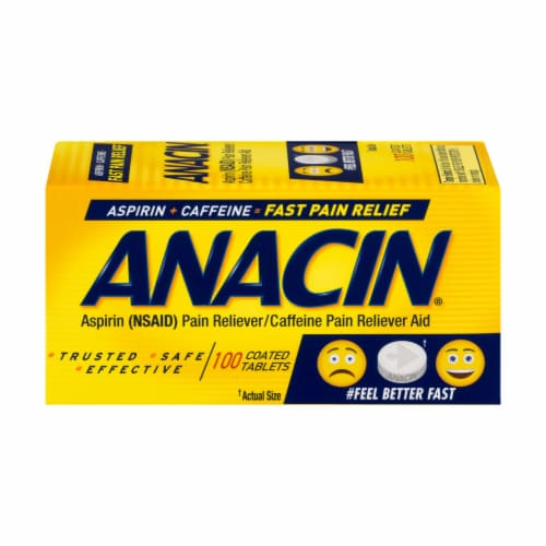 Anacin Aspirin Fast Pain Relief Coated Tablets Perspective: front