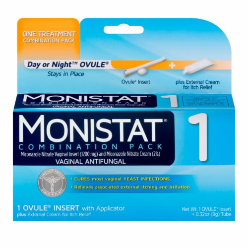 Monistat 1-Day Yeast Infection Treatment Ovule + External Itch Cream Perspective: front