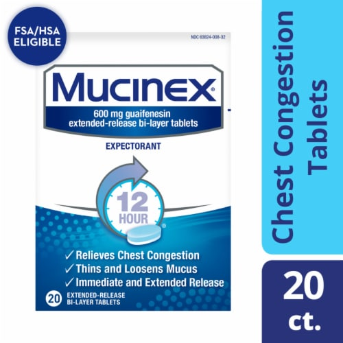 Mucinex Expectorant 12-Hour Chest Congestion Expectorant Relief Medicine Bi-Layer Tablets 20 Count Perspective: front