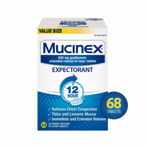 Mucinex 12 Hour Chest Congestion Expectorant Medicine Extended Release Bi-Layer Tablets Perspective: front
