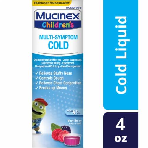 Mucinex Children's Multi-Symptom Very Berry Flavor Cold Liquid Perspective: front
