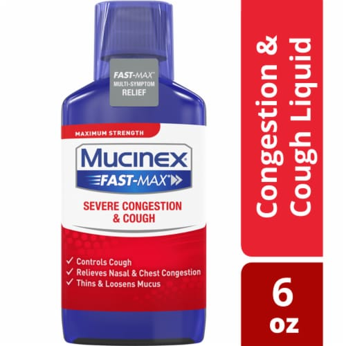 Mucinex Fast-Max Severe Congestion and Cough Multi-Symptom Relief Liquid Medicine Perspective: front