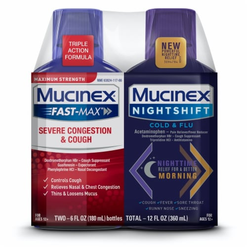 Mucinex Fast-Max & Nightshift Cough Cold & Flu Twin Pack Perspective: front
