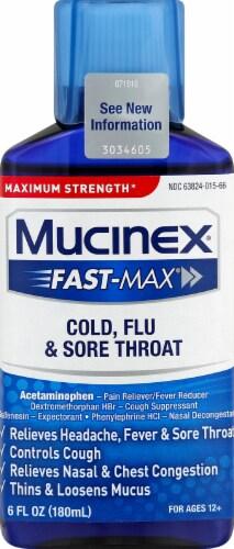 Mucinex Fast-Max Cold Flu & Sore Throat Relief Liquid Perspective: front
