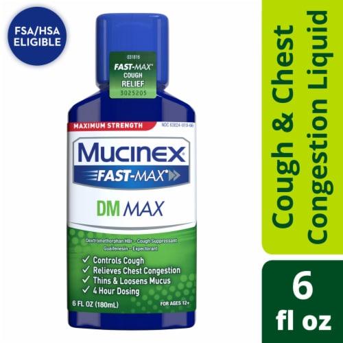 Mucinex Maximum Strength Fast-Max DM Cough & Chest Congestion Medicine Liquid Perspective: front