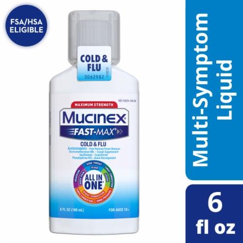 Mucinex Fast-Max Cold & Flu All-in-One Maximum Strength Multi-Symptom Relief Liquid Medicine Perspective: front