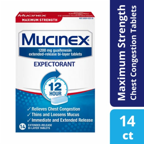 Mucinex Maximum Strength 12-Hour Chest Congestion Expectorant Relief Medicine 1200mg Tablets Perspective: front