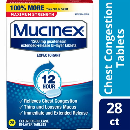 Mucinex Maximum Strength 12 Hour Chest Congestion Expectorant Relief Medicine 1200mg Tablets Perspective: front