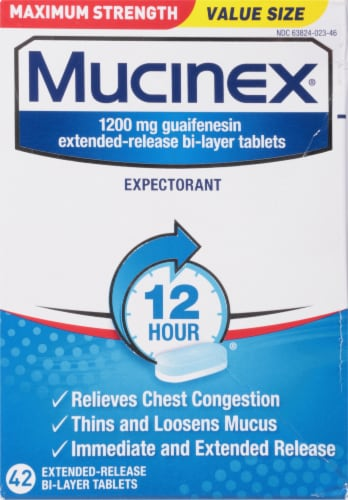 Mucinex Max Strength Chest Congestion Relief Bi-Layer Tablets 1200mg Perspective: front