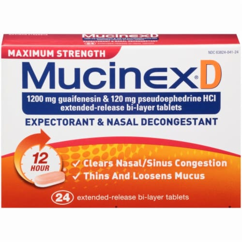 Mucinex D Expectorant & Nasal Decongestant 1200mg Tablets Perspective: front