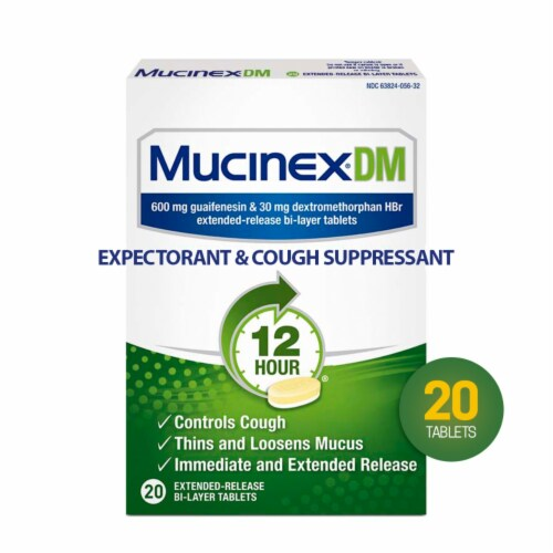 Mucinex DM 12 Hr Relief Expectorant and Cough Suppressant Medicine Extended Release Bi-Layer Tablets Perspective: front