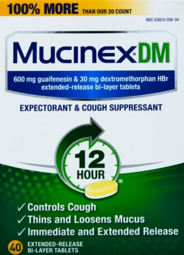 Mucinex DM Expectorant & Cough Suppressant Extended-Release Bi-Layer Tablets 600mg Perspective: front