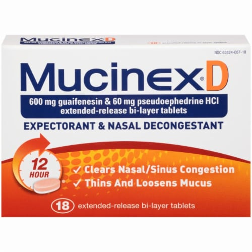Mucinex D Expectorant & Nasal Decongestant 600mg Tablets Perspective: front