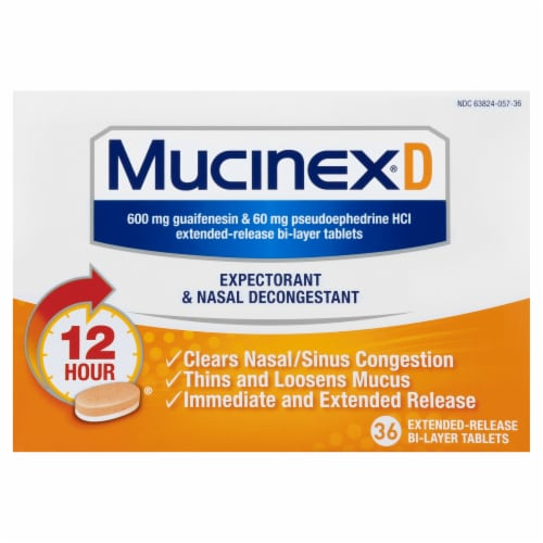 Mucinex D Expectorant & Nasal Decongestant 600mg Extended-Release Bi-Layer Tablets Perspective: front