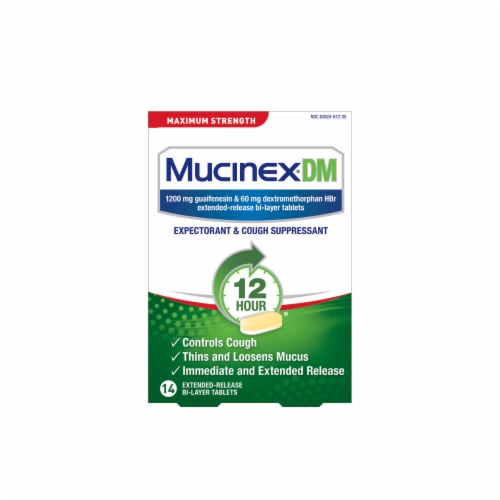 Mucinex DM Maximum Strength 12-Hour Expectorant and Cough Suppressant Bi-Layer Tablets Perspective: front