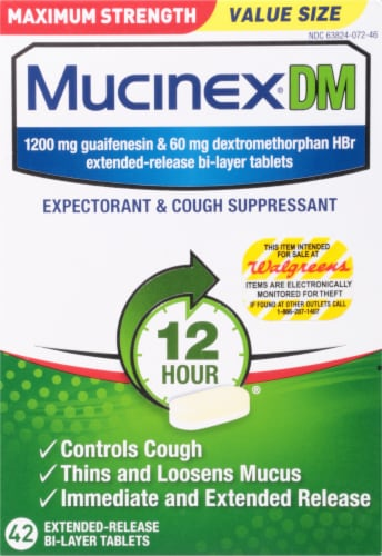 Mucinex DM Maximum Strength 12-Hour Expectorant and Cough Suppressant Tablets Perspective: front